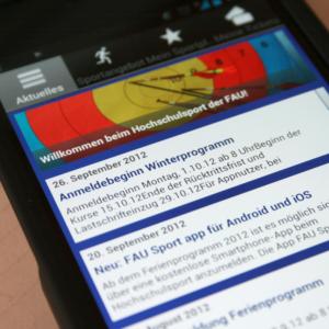 App des Hochschulsports der FAU für iPhone und Android