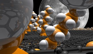Graphenschicht (grau), an die weitere Moleküle angehängt sind. Dieses funktionalisierte Graphen eröffnet vielfältige Anwendungsperspektiven. Bild: FAU/SFB 953