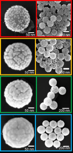 Nanohüllen aus Gold in unterschiedlichen Wachstumsstadien - oben links noch kleine Goldinselchen, unten links eine geschlossene Hülle. (Bild: FAU)