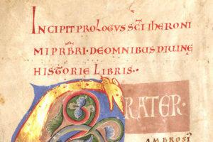 Ausschnitt aus der Gumbertusbibel (Bild: Unibibliothek)