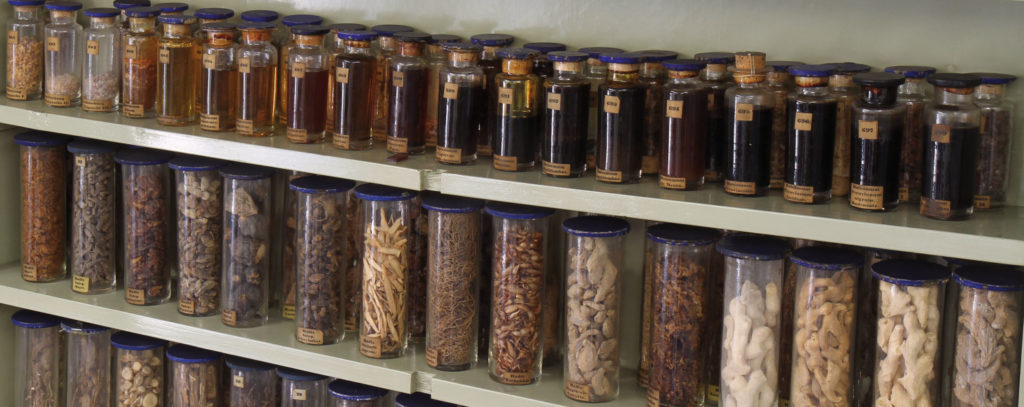Rows of ingredients used to make medications (image: Georg Pöhlein)