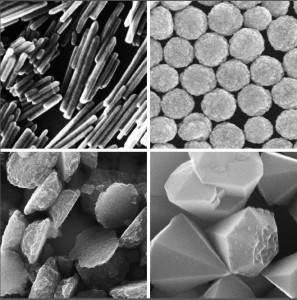 Die FAU-Forscher untersuchen unter anderem Zinkoxid-Nanopartikel – angeordnet als Stäbchen (links oben), als Kügelchen (rechts oben), als Plättchen (links unten) oder als Tetraeder (rechts unten). Je nach Form unterscheidet sich die Wirkung dieser extrem kleinen Nanoteilchen. Ein menschliches Haar ist übrigens in etwa 800 Mal so dick wie die abgebildeten Partikel. (Bild: FAU)