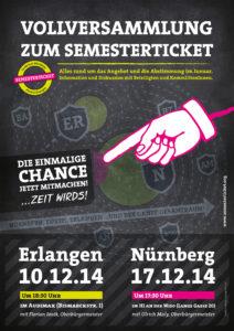 Das Plakat der Studierendenvertretung zur den Vollversammlungen am 10. Dezember in Erlangen und 17. Dezember in Nürnberg. (Bild: Stuve/elmografico.de)