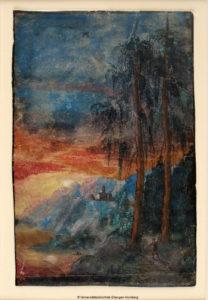 Albrecht Altdorfers Landschaft bei Sonnenuntergang ist eine der ersten autonomen Landschaftsdarstellungen und wird bei der Sonderausstellung gezeigt. (Bild: Universitätsbibliothek Erlangen-Nürnberg)