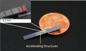 """Es scheint, als sei der """"Beschleuniger auf einem Chip"""" nicht viel größer als eine 1-Cent-Münze. Dabei ist er tatsächlich noch viel kleiner als die Münze. Er ist so klein, dass die Nanostrukturen nur mit einem Elektronenmikroskop gesehen werden können (Vergrößerung links oben). Mit dieser neuen Technologie könnten Teilchenbeschleuniger, die zurzeit mehrere Kilometer lang sind, zukünftig in eine Schuhschachtel passen. (Bild: FAU/Joshua McNeur)"""