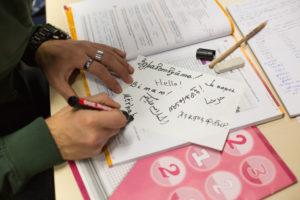"""Was heißt """"Hallo"""" auf Ukrainisch, Arabisch oder Amharisch? Teilnehmer des Sprachkurses schreiben das Wort für das Titelbild des """"alexander"""". (Bild: Erich Malter)"""