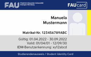 FAUcard Studierende Vorderseite