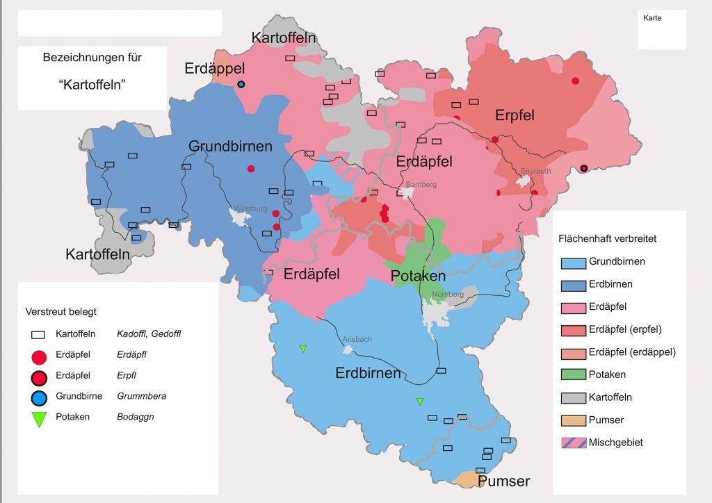 Grafik: Wie sagt man wo in Franken zur Kartoffel?