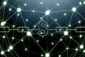 Netz von Lichtpunkten und Ankerkette mit Dollarzeichen