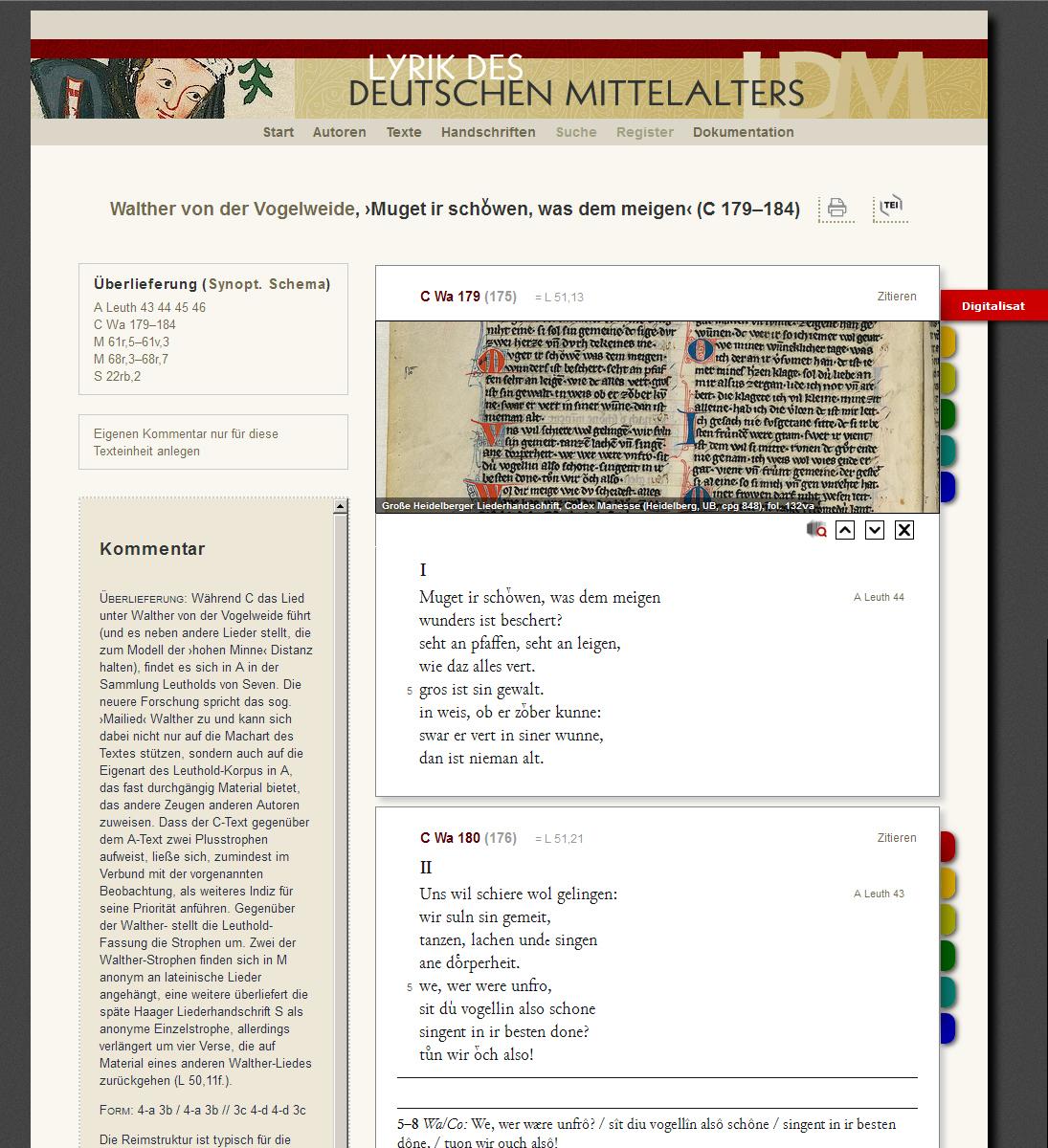 """Screenshot der Datenbank """"Lyrik des deutschen Mittelalters"""""""