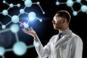 Scientist with molecules