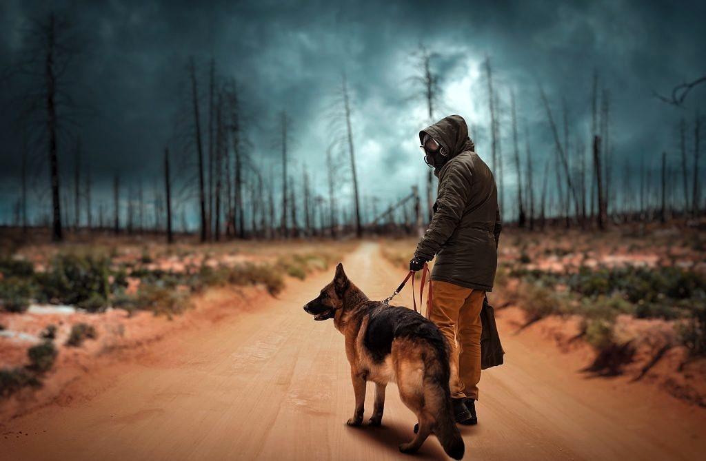 Letzter Mensch mit Hund in apokalyptischer Umgebung