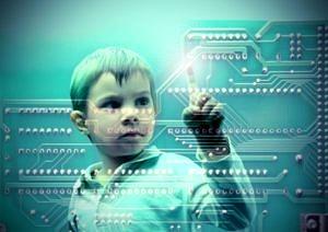 Kind transparent auf Mikrochip