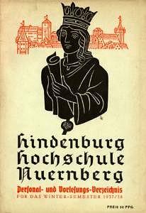 Cover des Personal- und Vorlesungsverzeichnis für das Wintersemester 1937/38 der Hindenburg Hochschule Nürnberg.