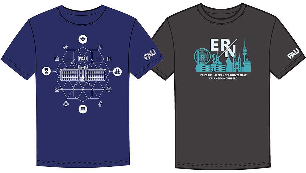 Die beiden Gewinner-Shirts sind nebeneinander abgebildet.