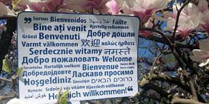Willkommensschild in Magnolienbaum