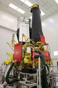 eROSITA was integrated into the SRG satellite in Moscow. From there, it was transported to Baikonur Cosmodrome.