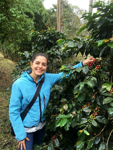 Paula Mejia at a coffee plantation