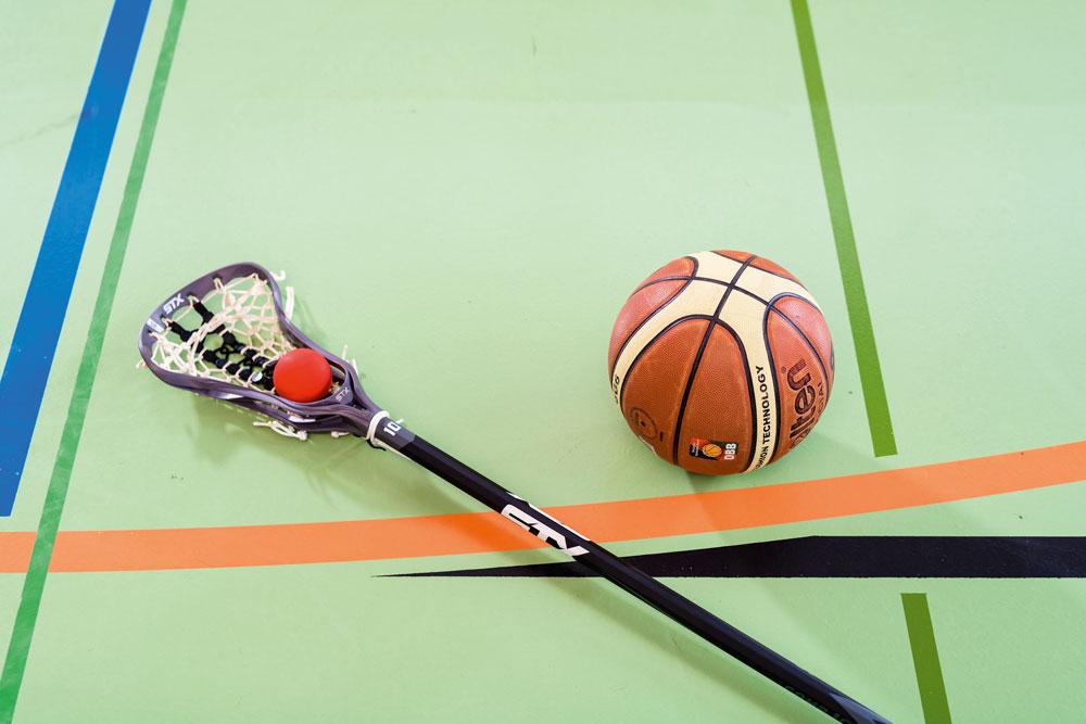 Basketball und Lacrosse-Schläger