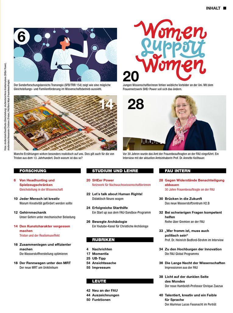 Inhaltsverzeichnis FAU-Magazin alexander