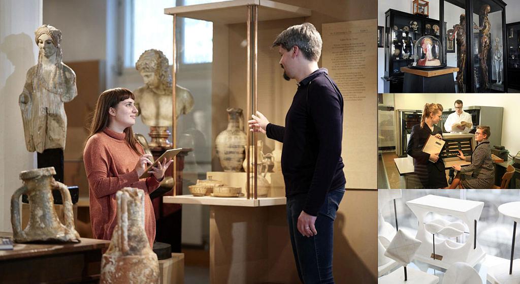 Collage aus Antikensammlung, anatomischer Sammlung, Informatiksammlung und Mathematische Sammlung