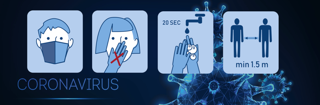 Illustrations: Wear a mask, do not touch your face, wash your hands for 20 seconds, maintain a minimum distance of 1.5 m