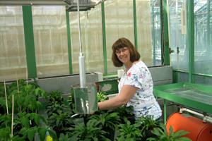 Eine Frau, die in einem Gewächshaus voller Pflanzen steht und in die Kamera lächelt.