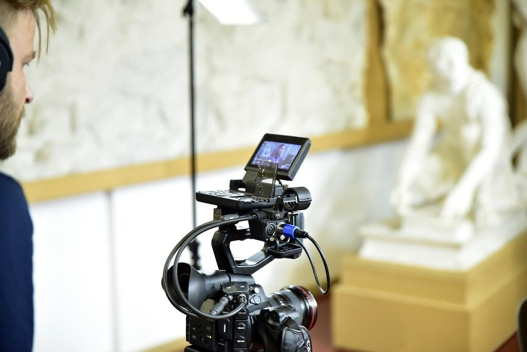 Camera filming in antique and classical collection