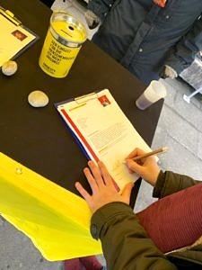 Unterschrift einer Petition.