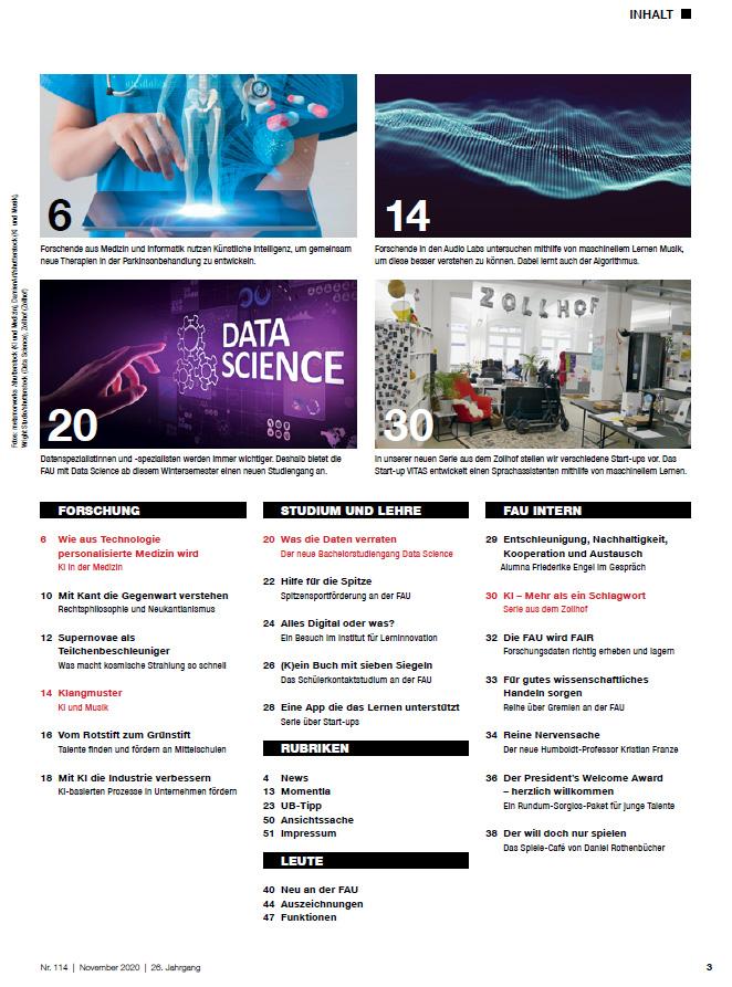 FAU-Magazin alex114 Inhaltsverzeichnis