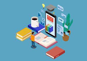 Illustration von Dingen auf Schreibtisch zuhause beim Online-Studieren wie Kaffetasse, Buch und Bildschirm