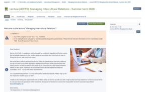 """Beispiel einer abwechslungsreichen Online-Lehre: """"Managing Intercultural Relations"""" aus dem Sommersemester 2020."""