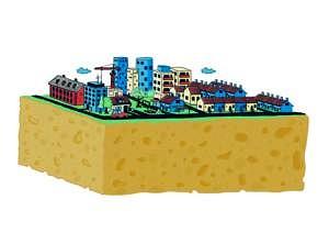 Illustration einer Schwammstadt