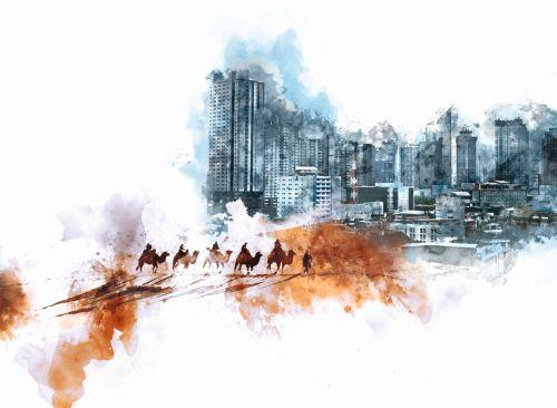 Collage Karawane und moderne Stadt