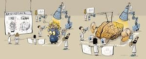Illustration von Hirn und KI