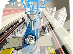 Illustration wasserstoff-betriebener Zug