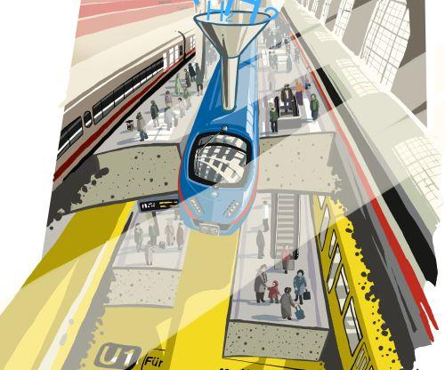 Illustration Bahnhof und U-Bahn