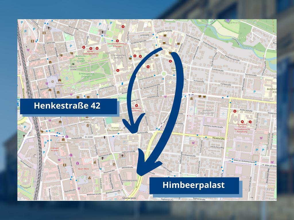 Karte zeigt, wohin das Geisteswissenschaftliche Zentrum umzieht.