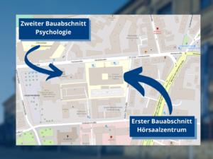 Karte zeigt, wo das Hörsaalzentrum und die Gebäude der Psychologie gebaut werden.