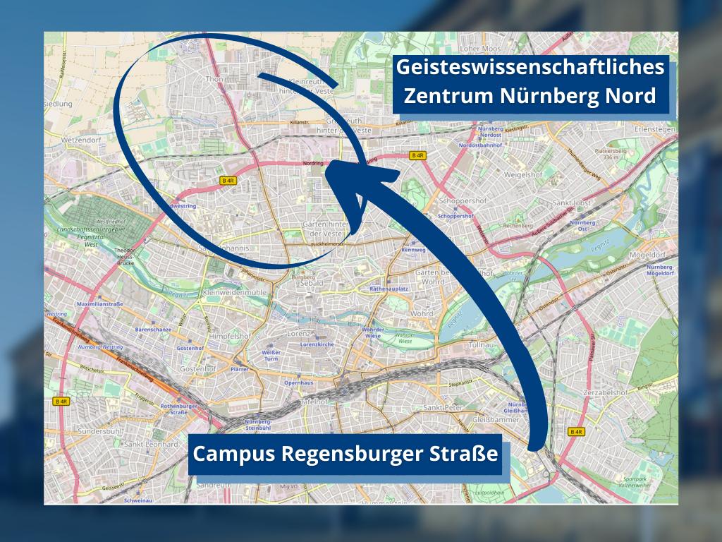 Karte zeigt mit einem Pfeil vom Campus Regensburger Straße in den Nürnberger Norden.