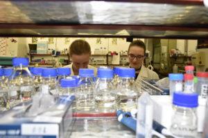 Zwei Studierende im Labor, fotografiert durch ein Regal voller Probenfläschchen.