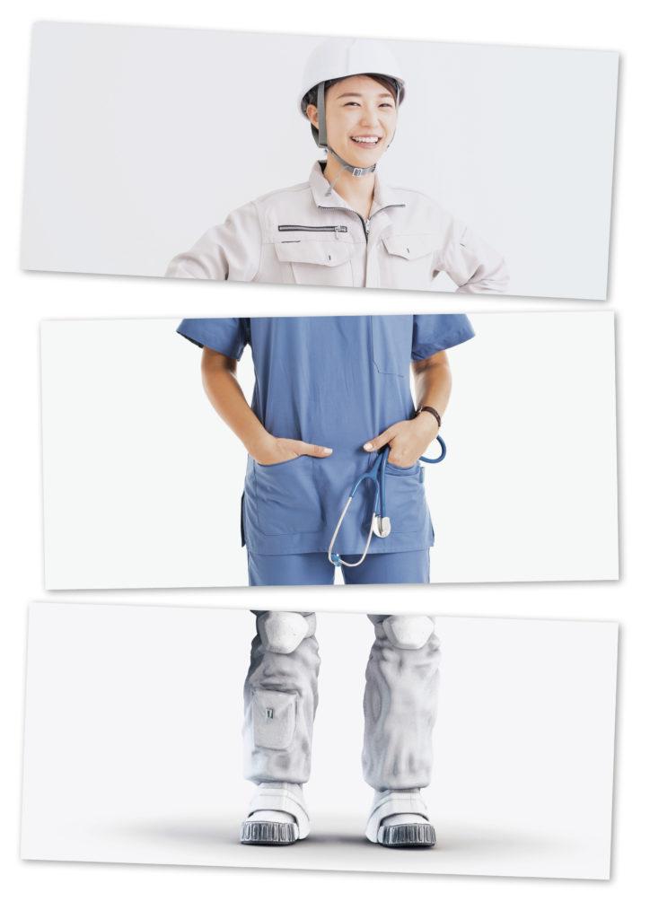 Eine Kollage von einer Ingeneurin, einer Ärztin und einer Astronautin.