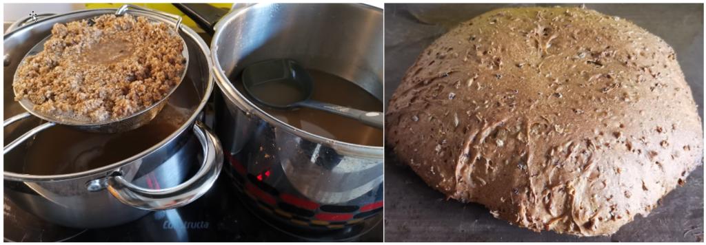 Treber wird mit Sieb aus Kochtopf geholt, Brot
