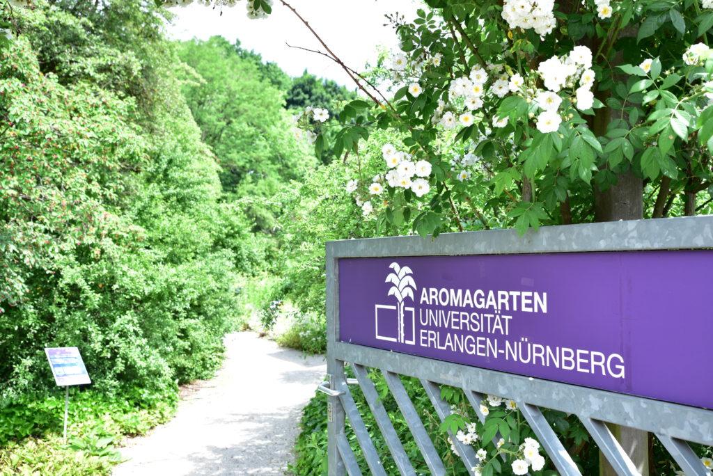 """Auf einem Schild steht """"Aromagarten Universität Erlangen-Nürnberg"""""""